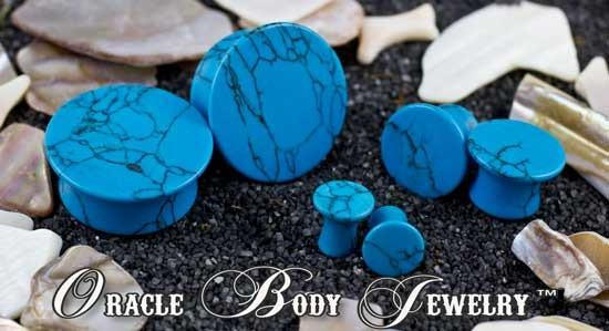 Mayan Flared Turquoise Plugs by Oracle Body Jewelry