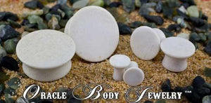 Mayan Flared White Agate Plugs by Oracle Body Jewelry
