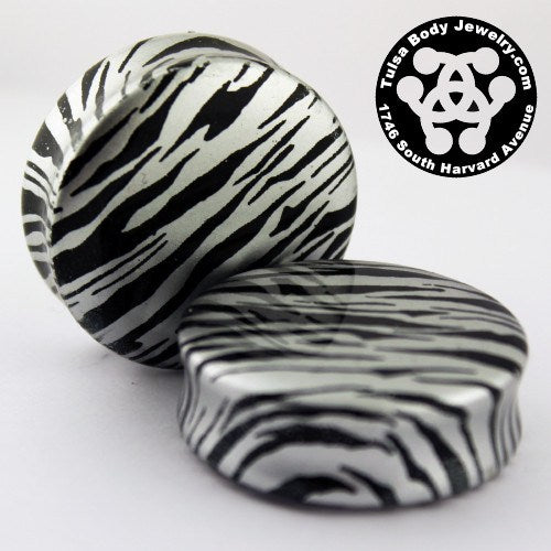Metallic Silver Zebra Plugs