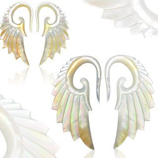 Plugs - Mother Of Pearl Angelic Wing Hangers