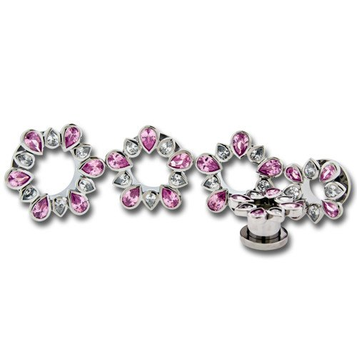Pink & Clear Gem Flower Stainless Tunnels