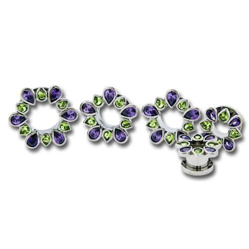 Purple & Green Gem Flower Stainless Tunnels