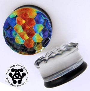 Rainbow Foil Bubble Textured Plugs by Glasswear Studios