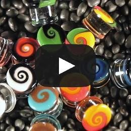 Rasta Swirl Plugs by Glasswear Studios