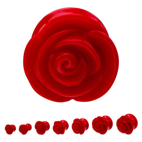 Red Acrylic Rose Plugs