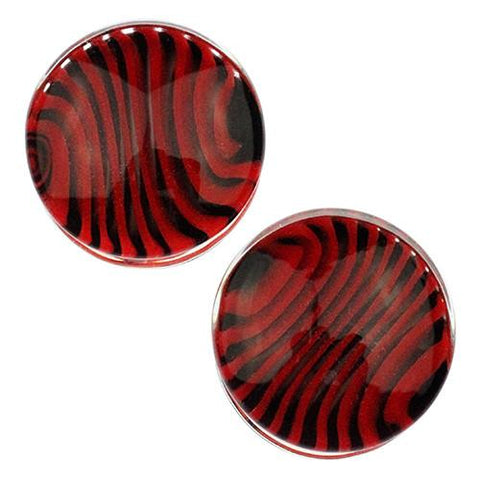 Plugs - Red & Black Tiger Stripe Plugs By Gorilla Glass