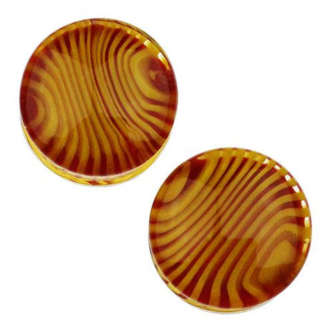 Plugs - Red & Yellow Tiger Stripe Plugs By Gorilla Glass