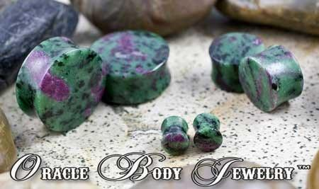 Ruby in Zoisite Plugs by Oracle Body Jewelry