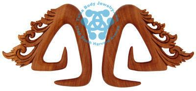 Saba Wood Trinity Temple Spirals by Oracle Body Jewelry