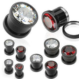 Screw-On Blackline Bezel CZ Plugs