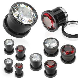 Plugs - Screw-On Blackline Bezel CZ Plugs