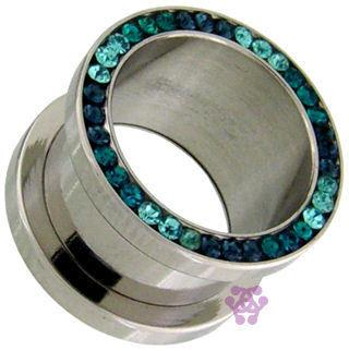 Screw-On Blue Gradient CZ Tunnels