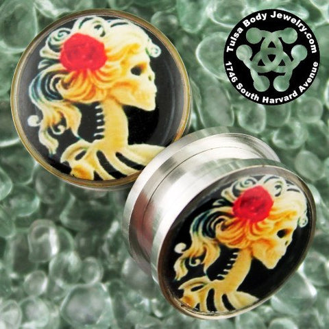 Screw-On Catrina Cameo Plugs