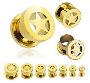Gold Plated Screw-On Star Tunnels