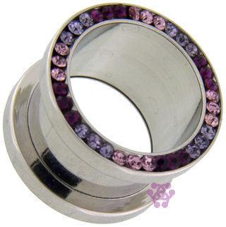 Screw-On Purple Gradient CZ Tunnels