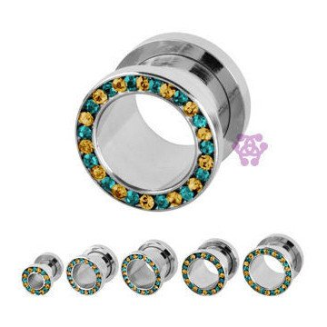 Screw-On Blue & Yellow CZ Tunnels