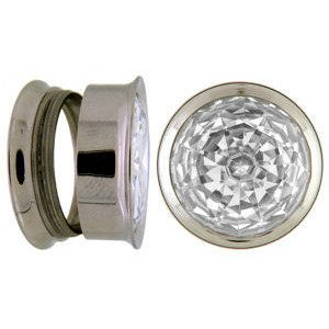 Screw-on Stainless Steel CZ Plugs