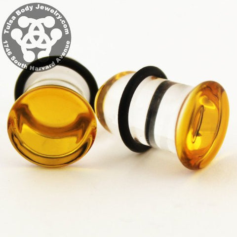 Amber Single Flare Plugs by Glasswear Studios