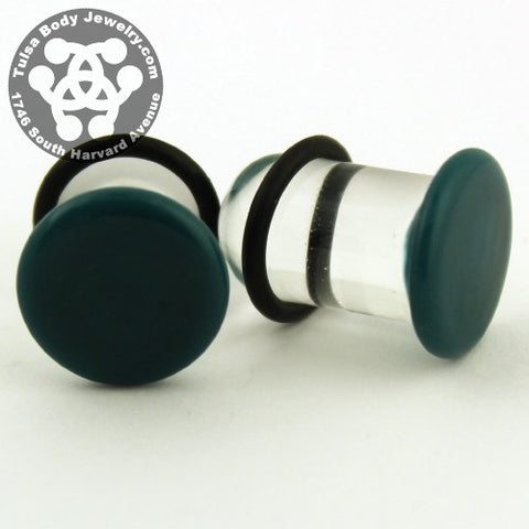 Dark Aqua Single Flare Plugs by Glasswear Studios