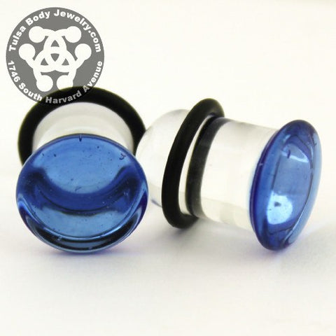Light Blue Single Flare Plugs by Glasswear Studios