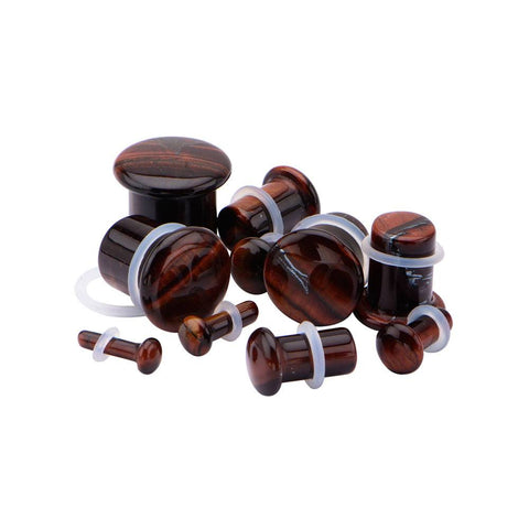 Single Flare Red Tiger Eye Plugs