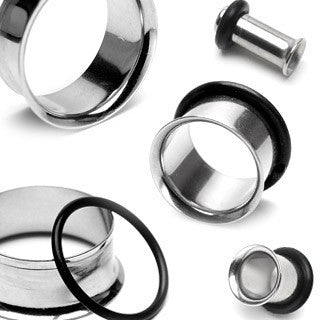 Plugs - Single Flare Stainless Steel Tunnels