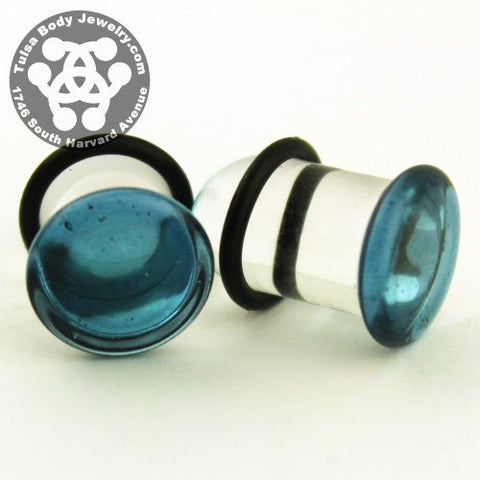 Translucent Sparkle Blue Single Flare Plugs by Glasswear Studios