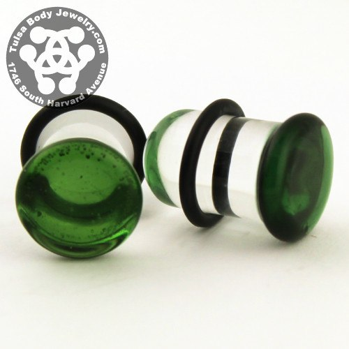 Translucent Green Single Flare Plugs by Glasswear Studios
