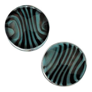 Plugs - Sky Blue & Black Tiger Stripe Plugs By Gorilla Glass