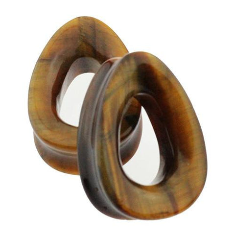 Plugs - Tiger Eye Teardrop Tunnels By Evolve Jewelry