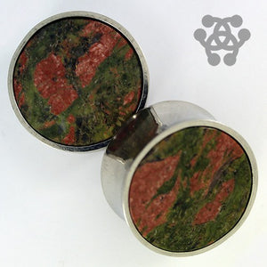 Unakite & Stainless Steel Plugs