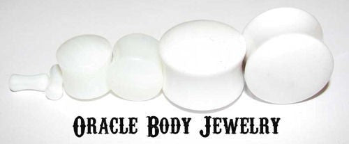 White Agate Plugs by Oracle Body Jewelry