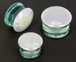 White Oil Slick Glass Plugs
