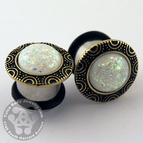 White Opal & Brass Plugs
