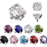 14g Stainless Steel Prong-set CZ