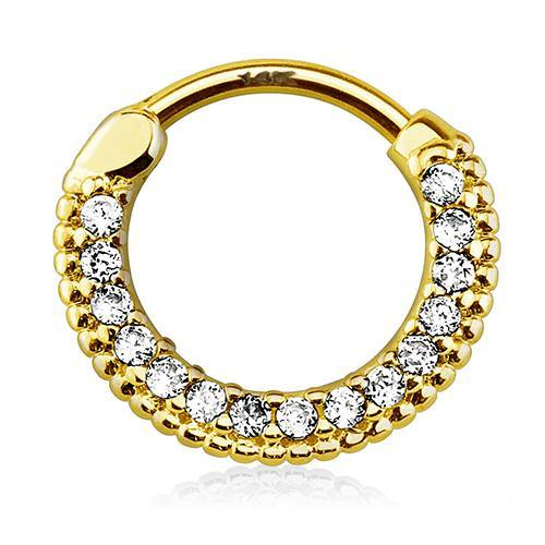 Septum - 16g Fifteen CZ 14k Gold Septum Clicker
