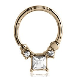 16g Gold CZ Square Septum Clicker
