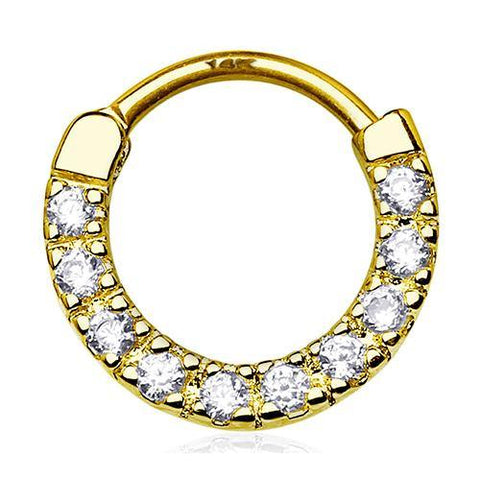 Septum - 16g Ten CZ 14k Gold Septum Clicker