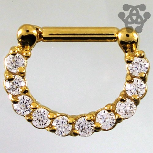 Gem Paved Gold Plated Septum Clicker