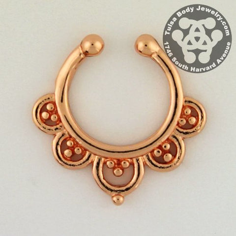 Grand Entice Gold Plated Filigree Non-Piercing Septum Hoop