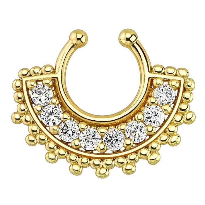 Large Paved Gem Fan Gold Plated Non-Piercing Septum Ring