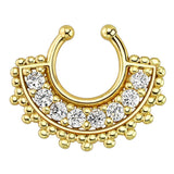 Large Paved Gem Fan Gold Plated Non-Piercing Septum Hoop