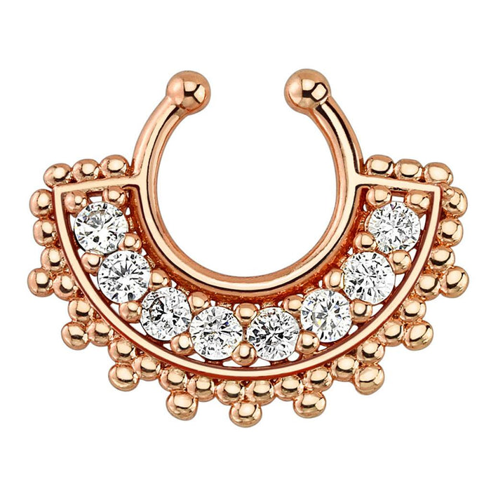 Large Paved Gem Fan Rose Gold Plated Non-Piercing Septum Ring