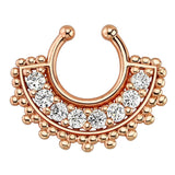 Large Paved Gem Fan Rose Gold Plated Non-Piercing Septum Hoop