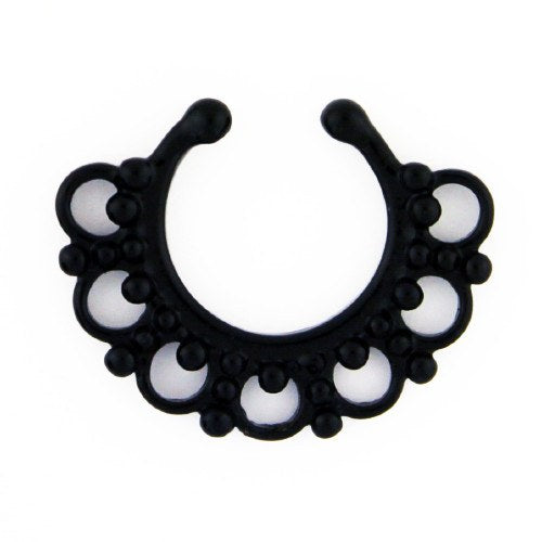 Majestic Blackline Filigree Non-Piercing Septum Ring