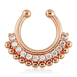 Paved Gem Fan Rose Gold Plated Non-Piercing Septum Hoop