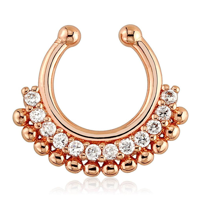 Paved Gem Fan Rose Gold Plated Non-Piercing Septum Ring