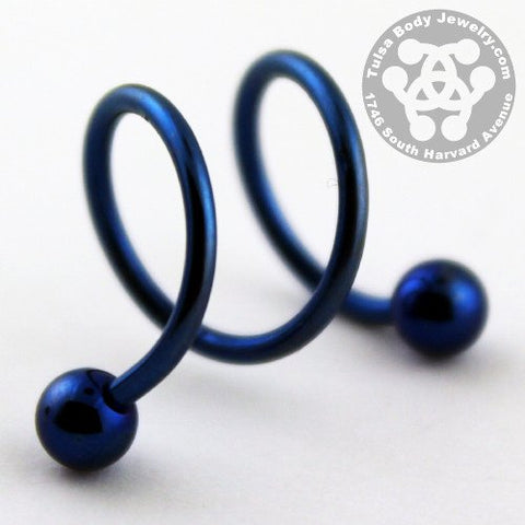 Spiral Barbells - 16g Anodized Double Spiral Barbell