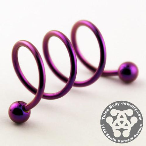 Spiral Barbells - 16g Anodized Triple Spiral Barbell