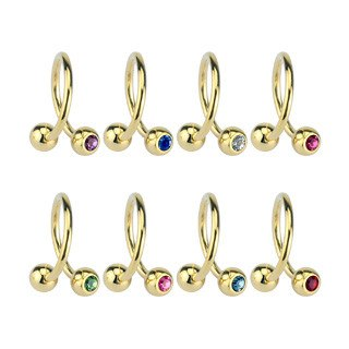 Gold Plated CZ Spiral Barbell